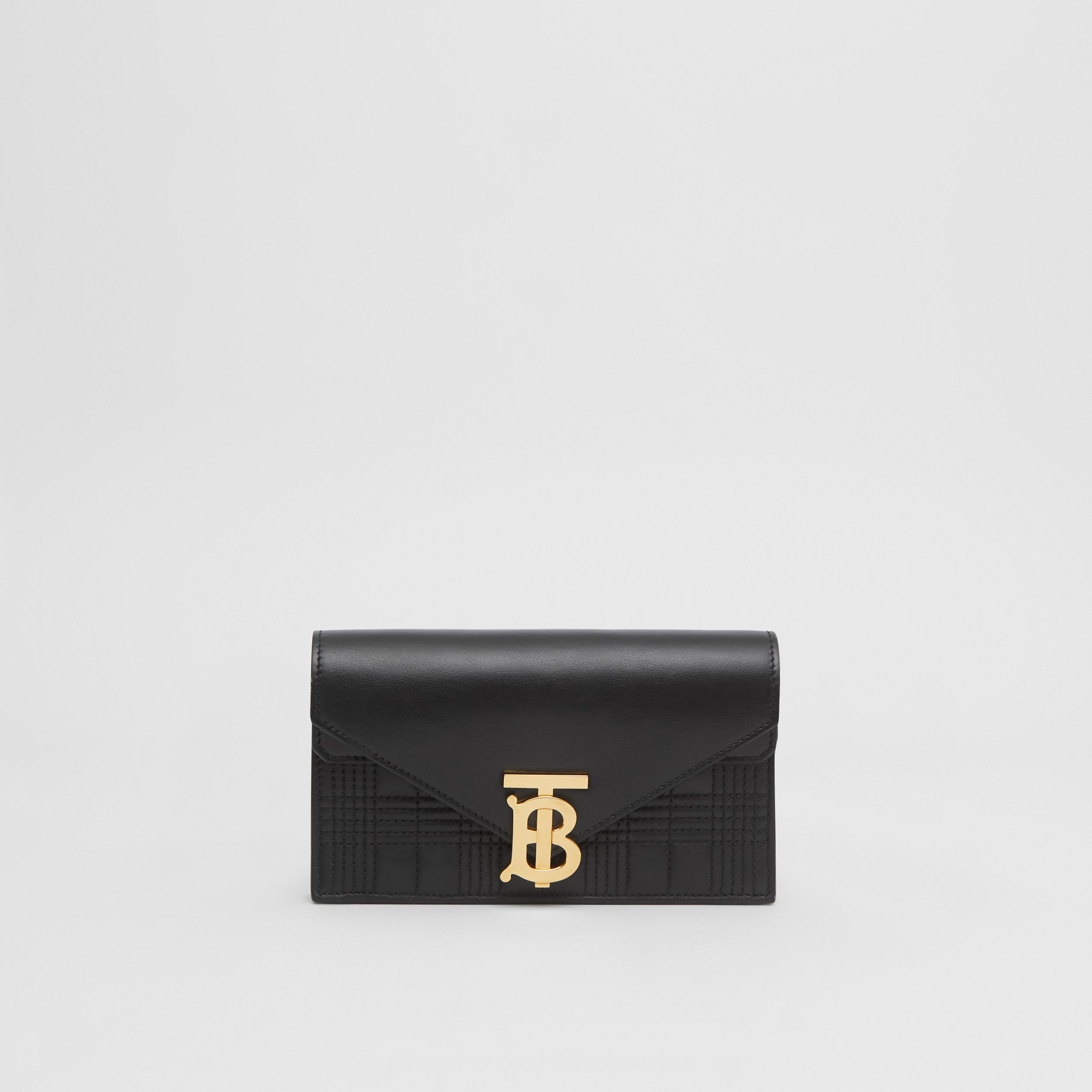 Belted Quilted Lambskin TB Envelope Clutch in Black - Women | Burberry - 4