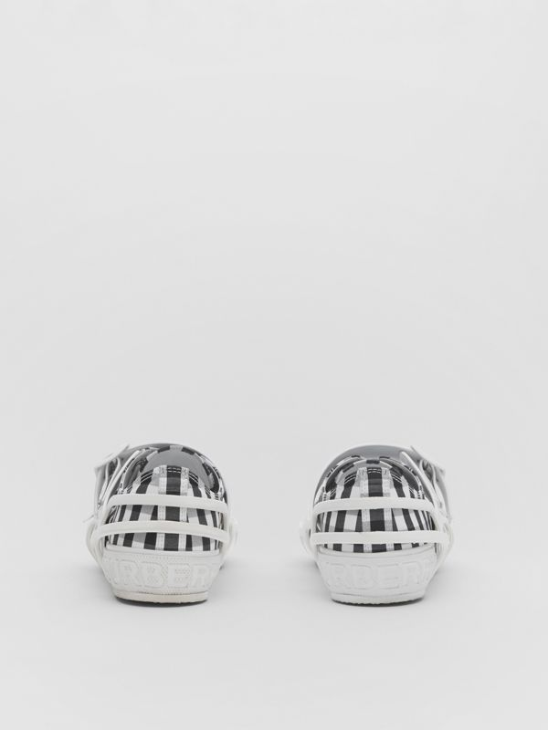 Gingham Cotton and Leather Webb Sneakers in White/black | Burberry United Kingdom - cell image 3