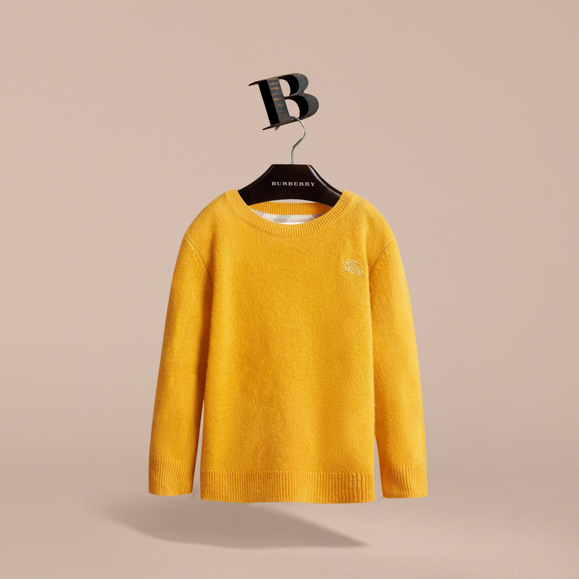 Check Elbow Patch Cashmere Sweater in Amber Yellow - Boy | Burberry Hong Kong - gallery image 3