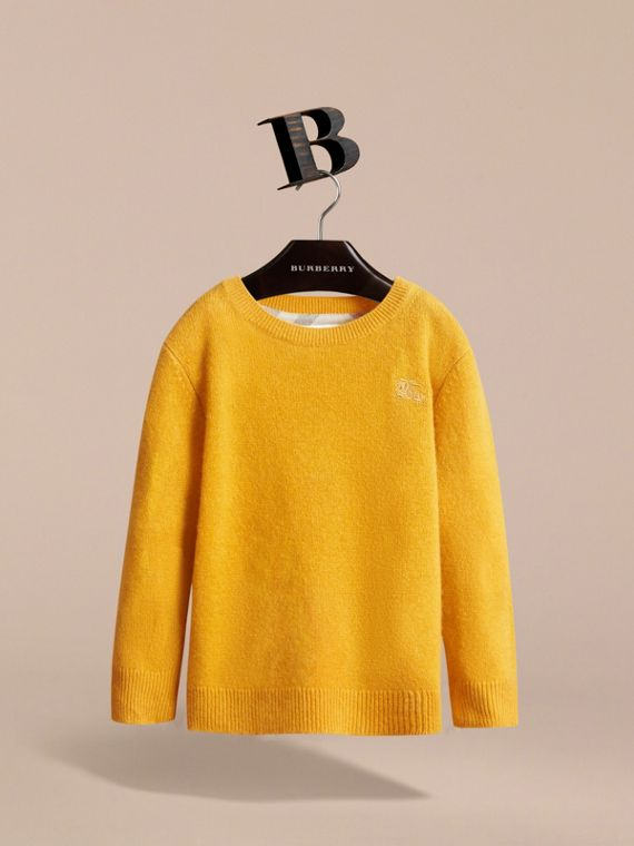 Check Elbow Patch Cashmere Sweater in Amber Yellow - Boy | Burberry Hong Kong - cell image 2
