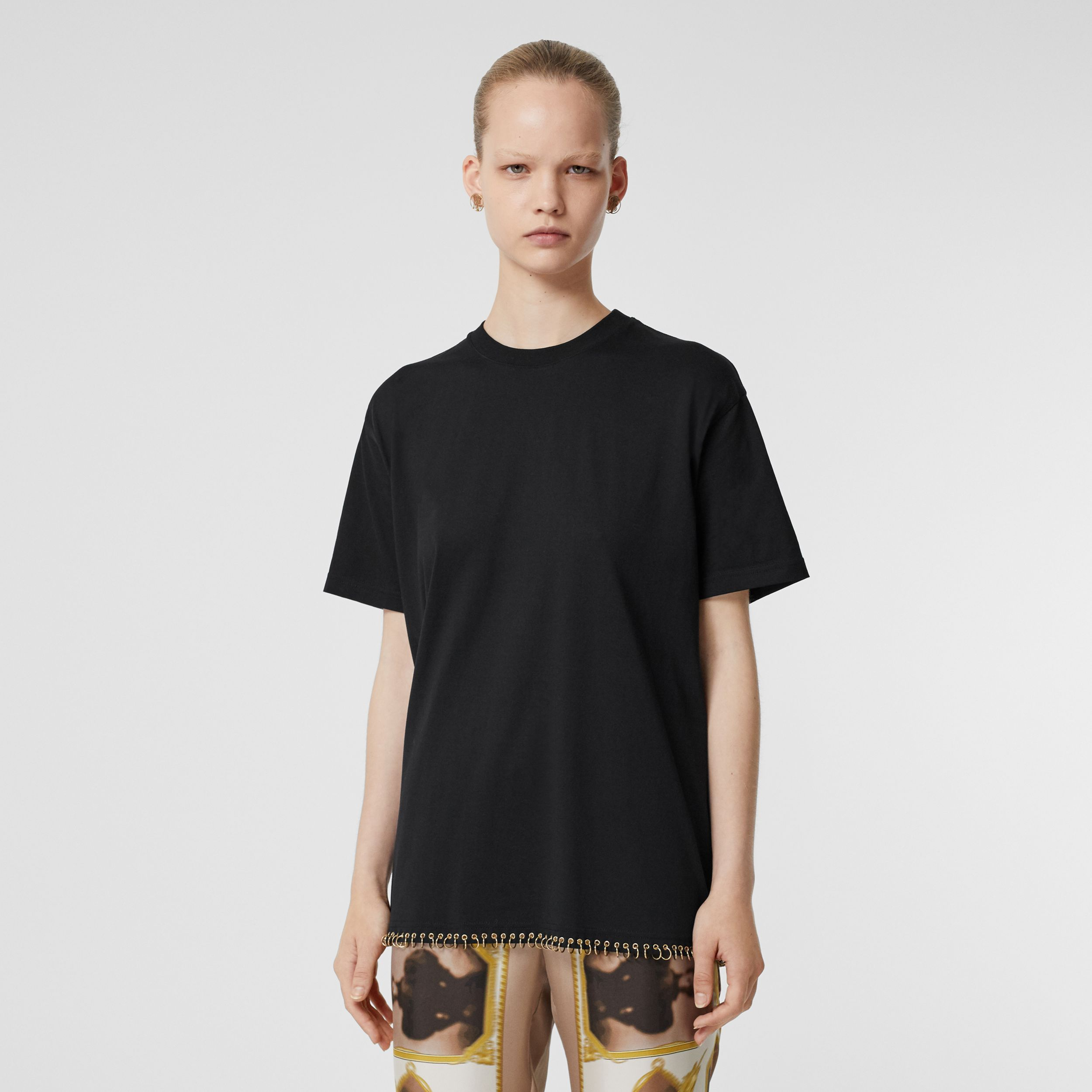 Ring-pierced Cotton Oversized T-shirt in Black | Burberry - 1