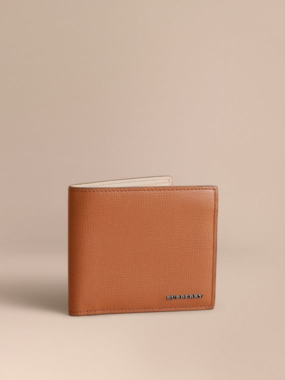 London Leather Folding Wallet Tan