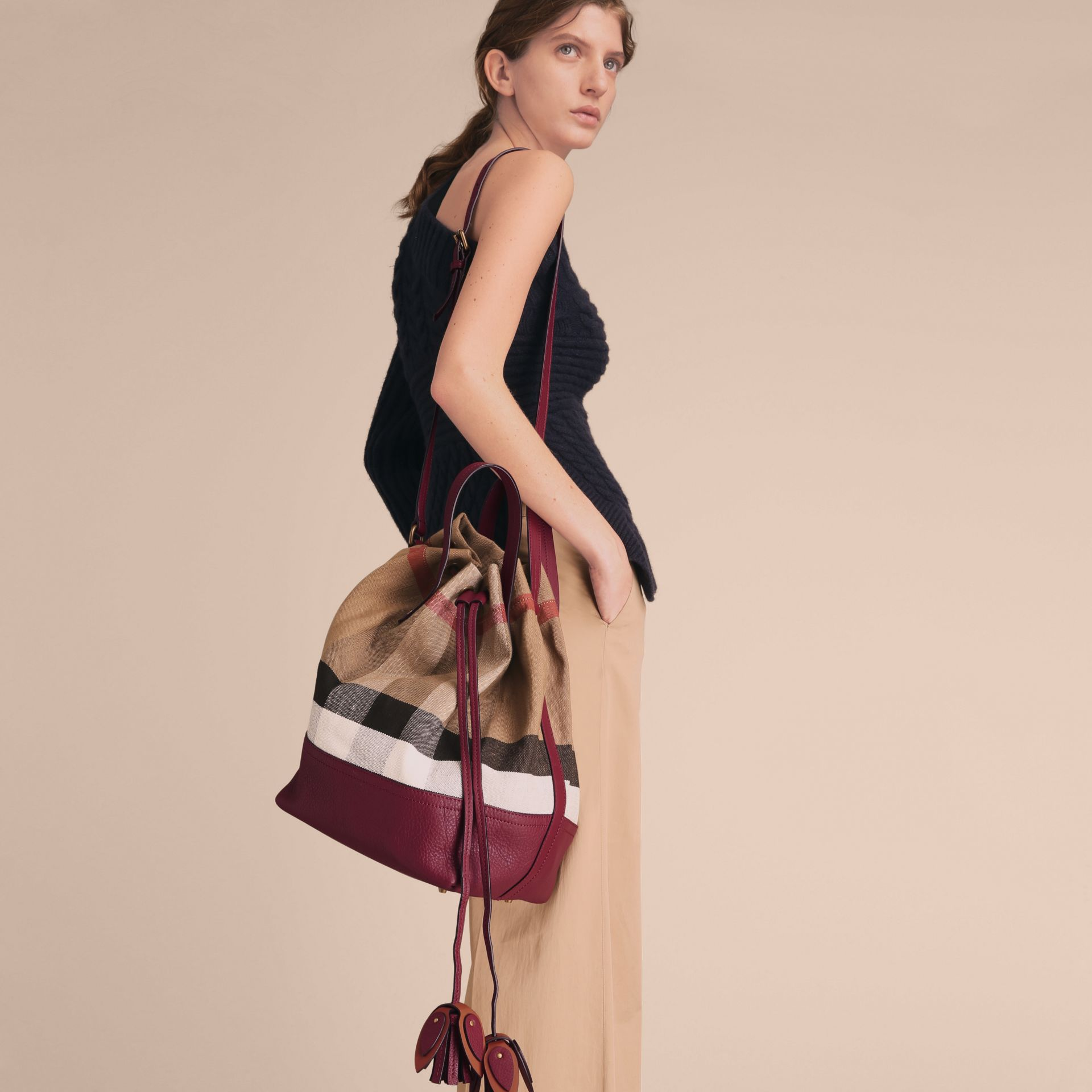 Medium Canvas Check and Leather Bucket Bag in Burgundy Red - Women | Burberry - gallery image 4