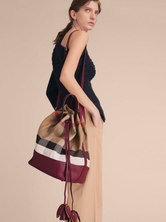 Medium Canvas Check and Leather Bucket Bag in Burgundy Red - Women | Burberry - cell image 3
