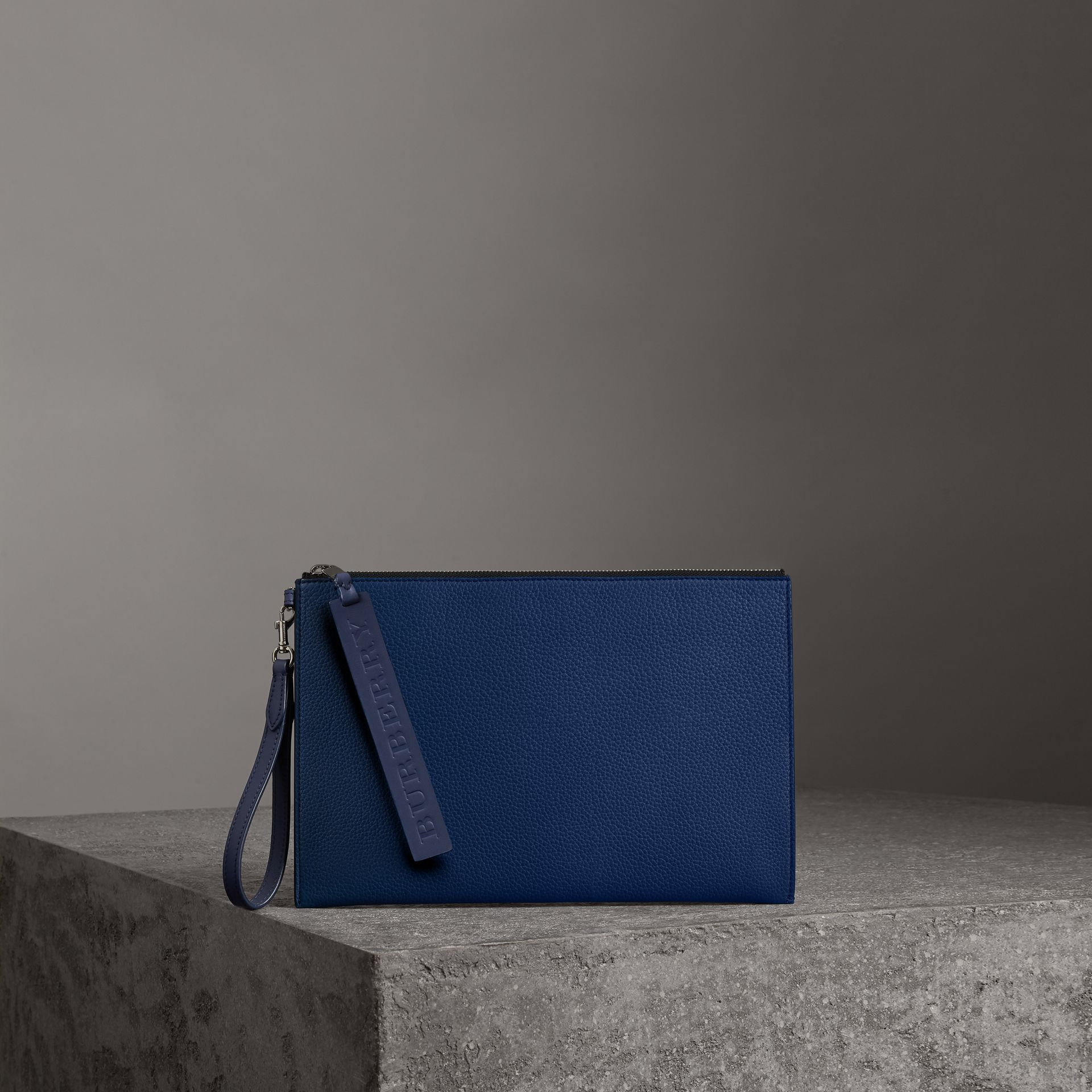 Grainy Leather Zip Pouch in Bright Ultramarine | Burberry Australia - gallery image 0