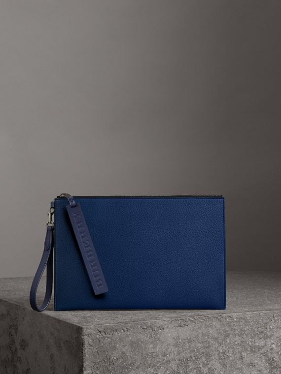 Grainy Leather Zip Pouch in Bright Ultramarine