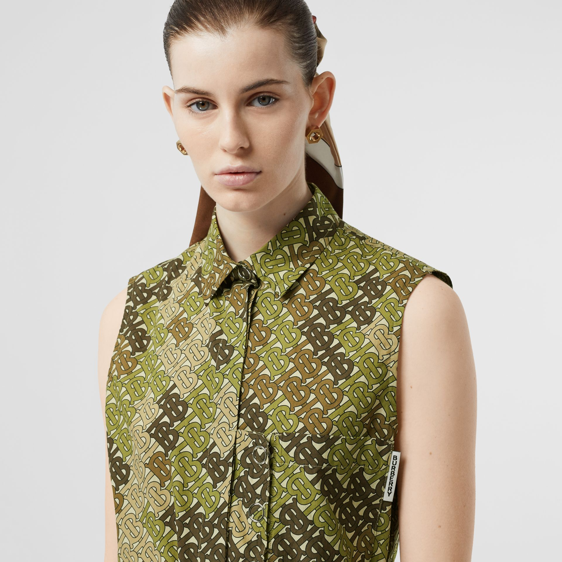 Sleeveless Monogram Print Cotton Poplin Shirt in Khaki Green - Women | Burberry - gallery image 1