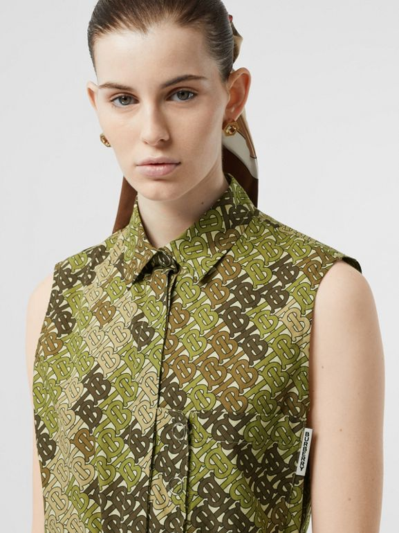 Sleeveless Monogram Print Cotton Poplin Shirt in Khaki Green - Women | Burberry - cell image 1