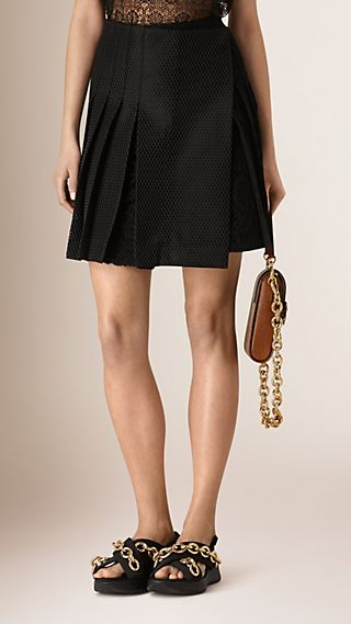 Pleated Lace Wrap-over Mini Skirt
