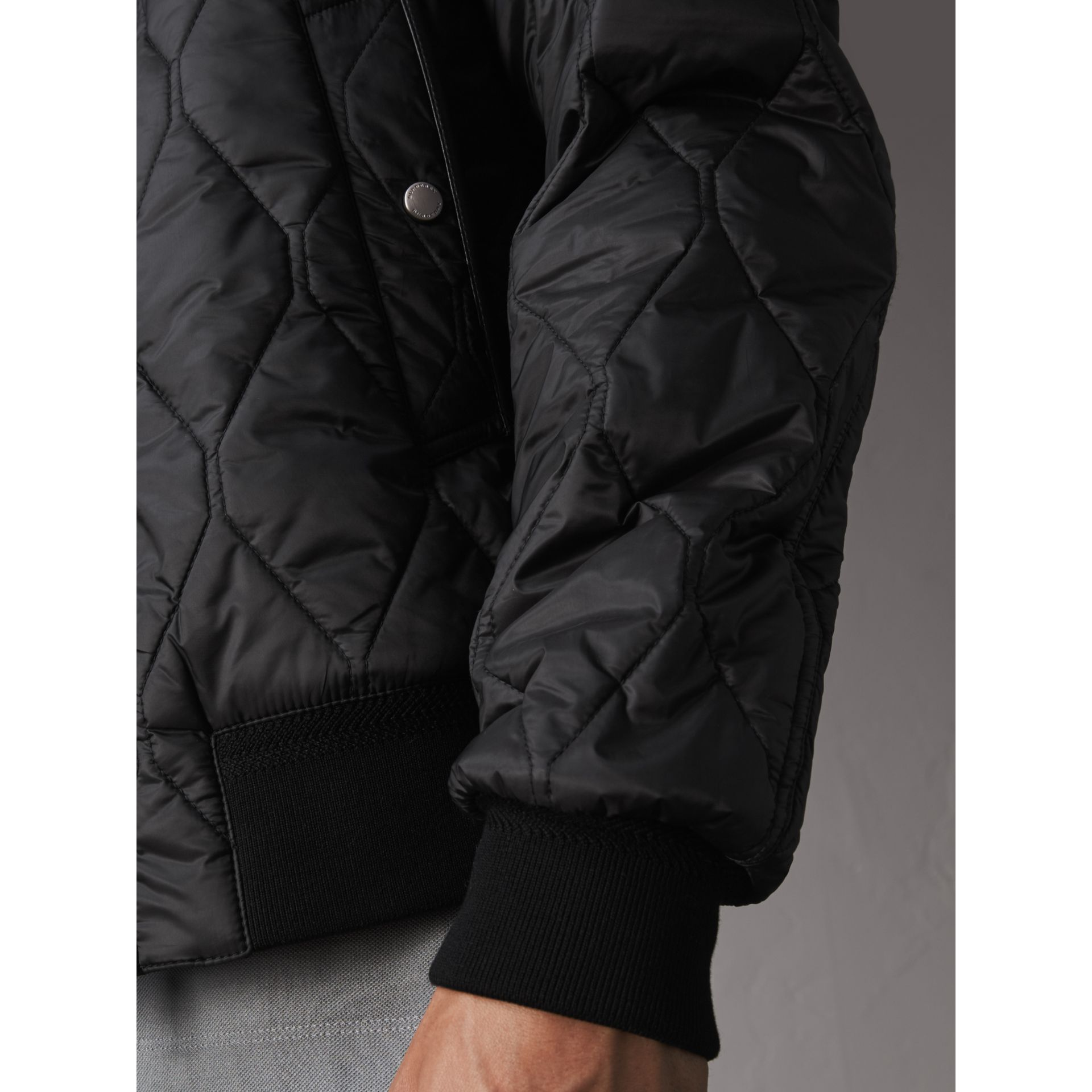 Stand-collar Military-quilted Jacket with Packaway Hood in Black - Men | Burberry Australia - gallery image 1