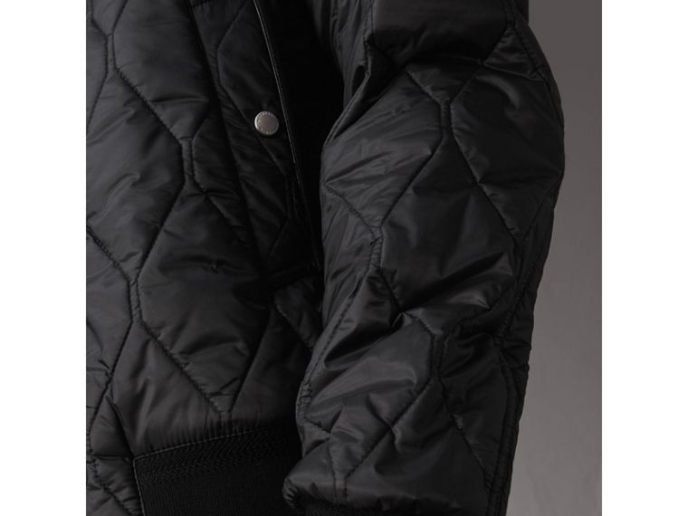 Stand-collar Military-quilted Jacket with Packaway Hood in Black - Men | Burberry - cell image 1