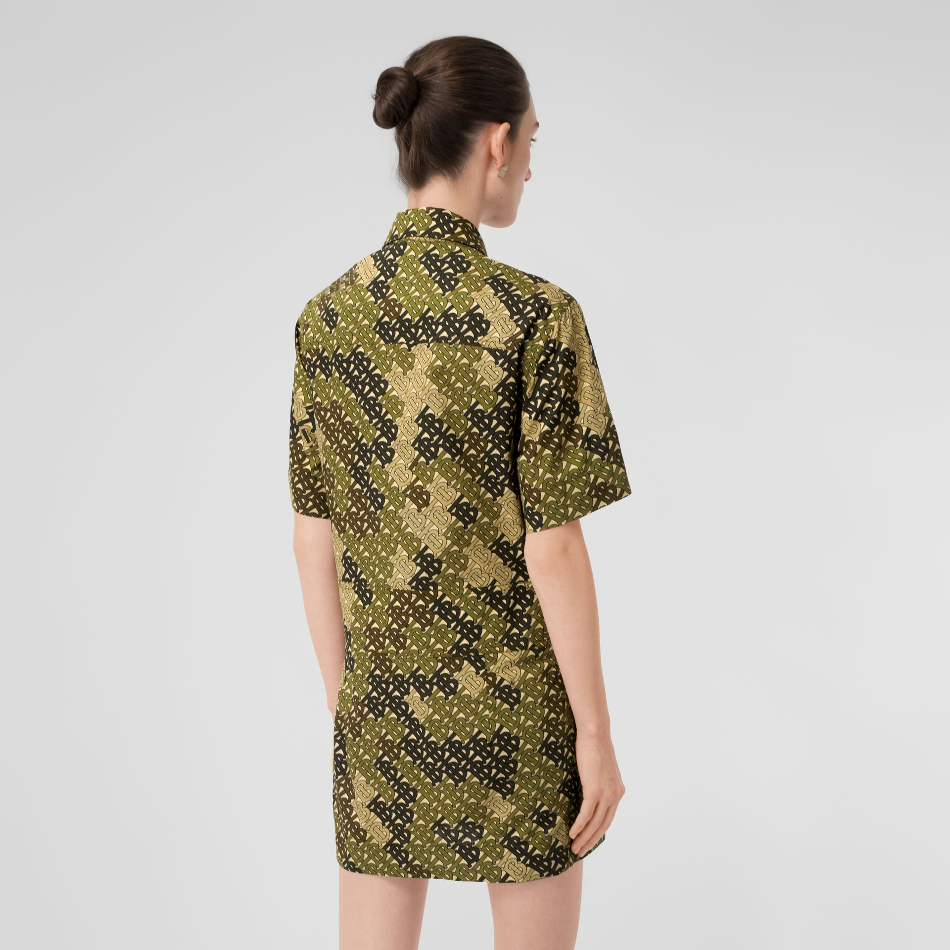 Short-sleeve Monogram Print Shirt Dress in Khaki Green - Women | Burberry - gallery image 2