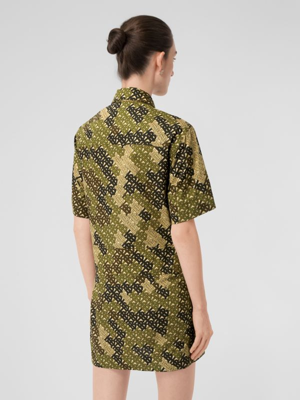 Short-sleeve Monogram Print Shirt Dress in Khaki Green - Women | Burberry Australia - cell image 2