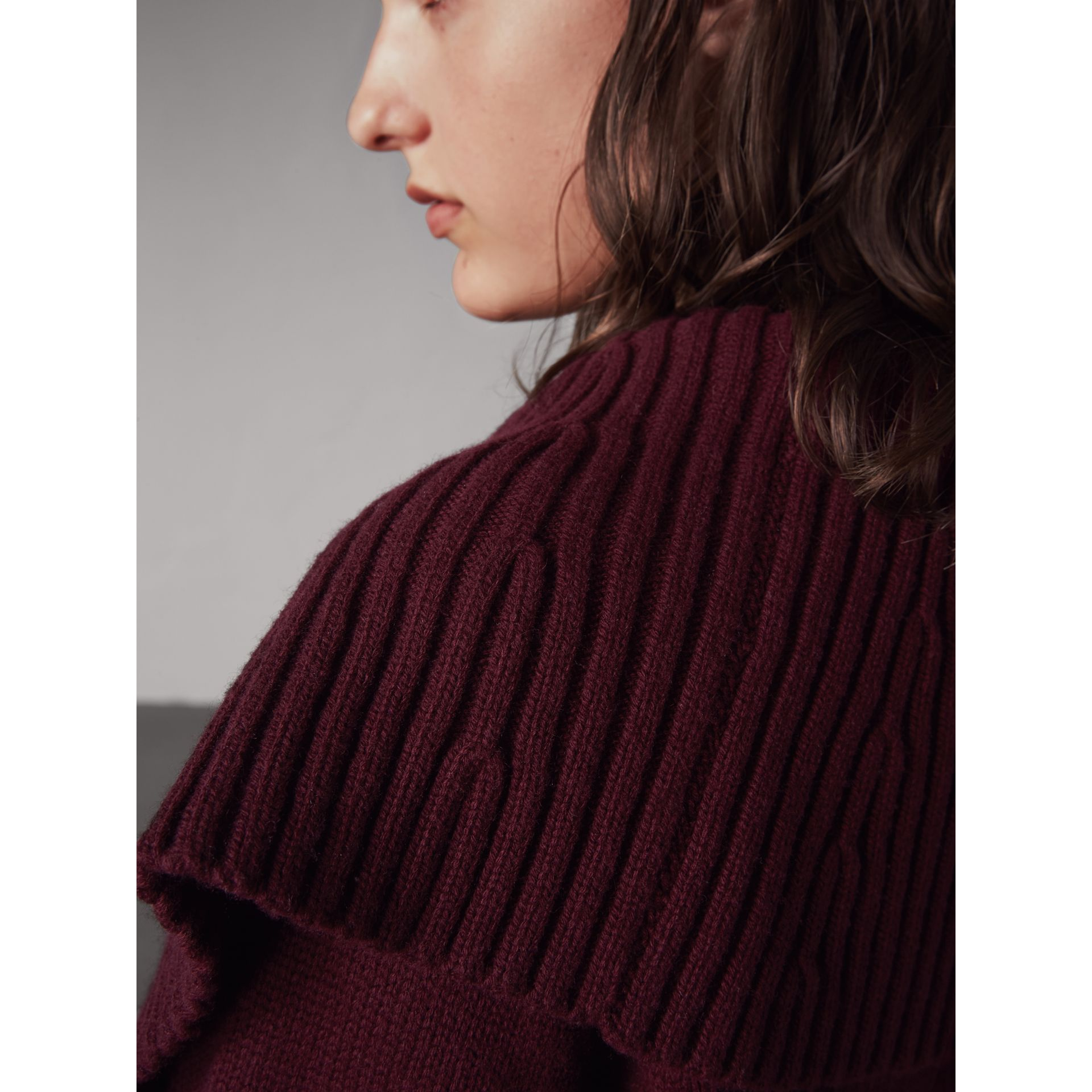 Ribbed Wool Cashmere Cardigan Coat in Burgundy - Women | Burberry Hong Kong - gallery image 2