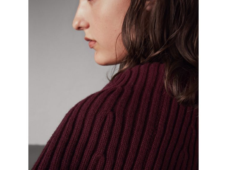 Ribbed Wool Cashmere Cardigan Coat in Burgundy - Women | Burberry Hong Kong - cell image 1