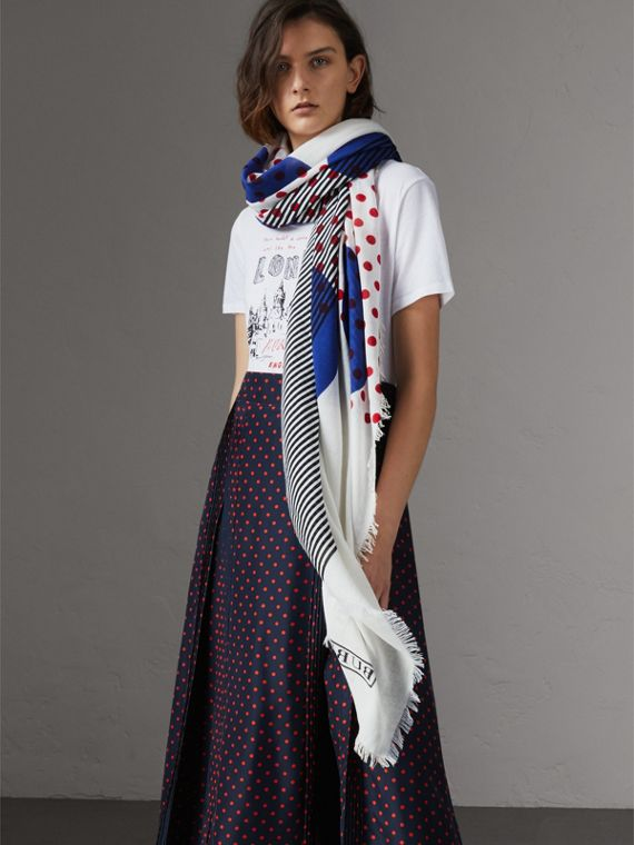 Graphic Spot and Stripe Print Silk Cotton Scarf in Bright Navy | Burberry - cell image 2