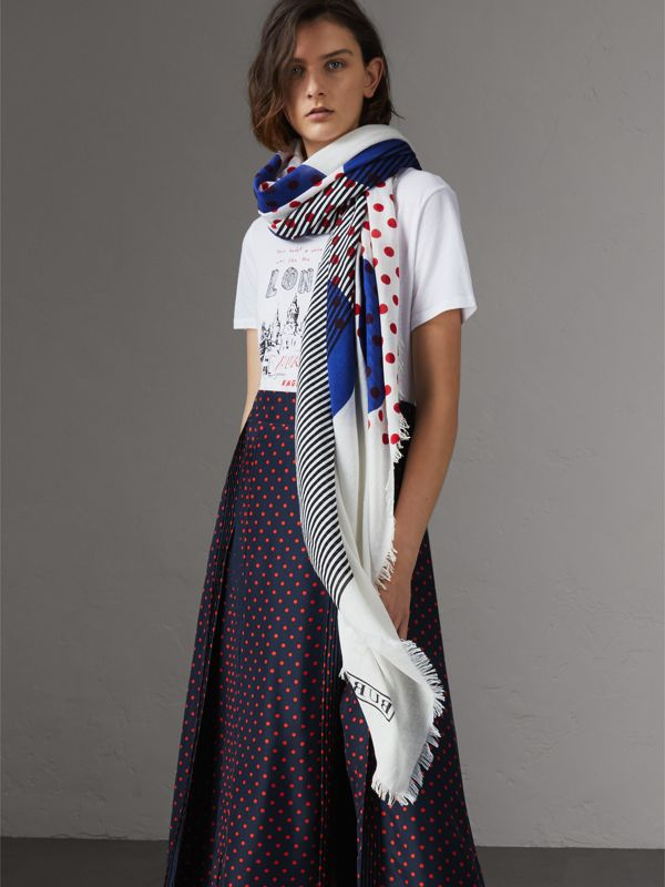 Graphic Spot and Stripe Print Silk Cotton Scarf in Bright Navy | Burberry Australia - cell image 2