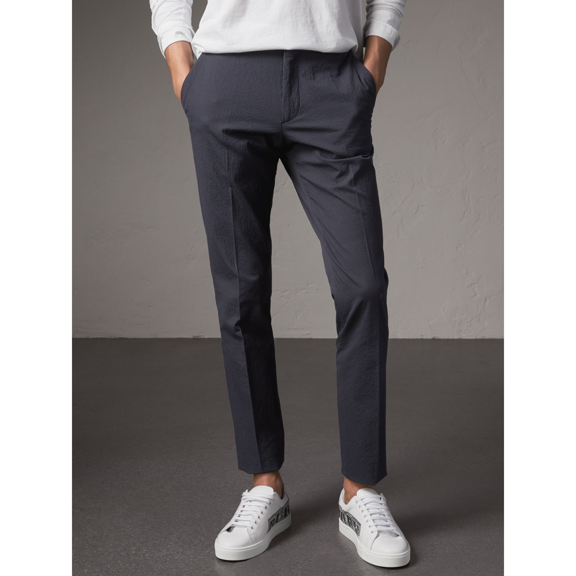 Slim Fit Textured Stretch Cotton Trousers in Navy - Men | Burberry - gallery image 5