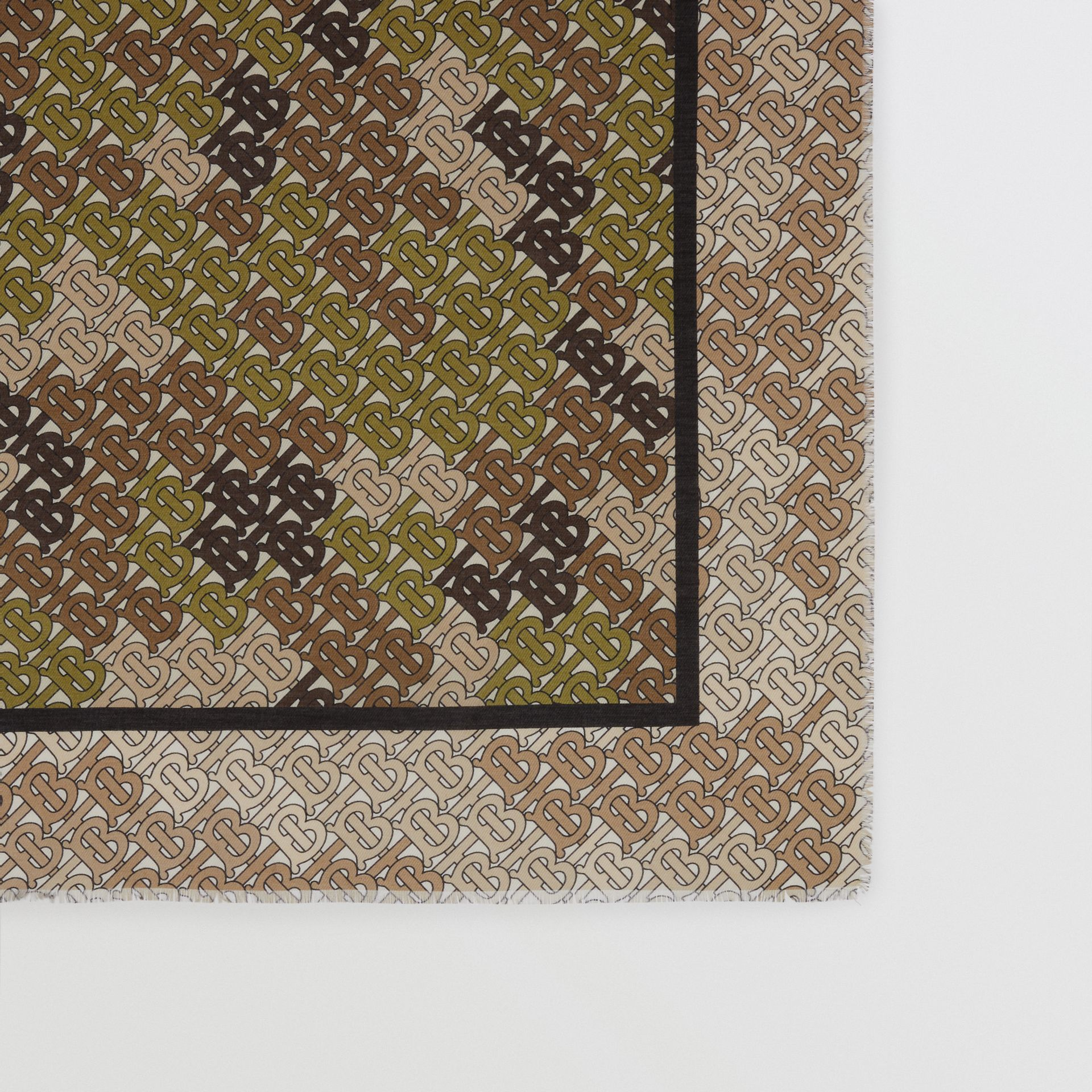 Horseferry Print Cotton Silk Large Square Scarf in Khaki Green | Burberry - gallery image 3