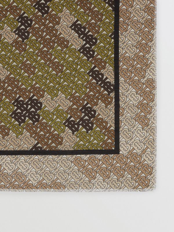 Horseferry Print Cotton Silk Large Square Scarf in Khaki Green | Burberry United Kingdom - cell image 3