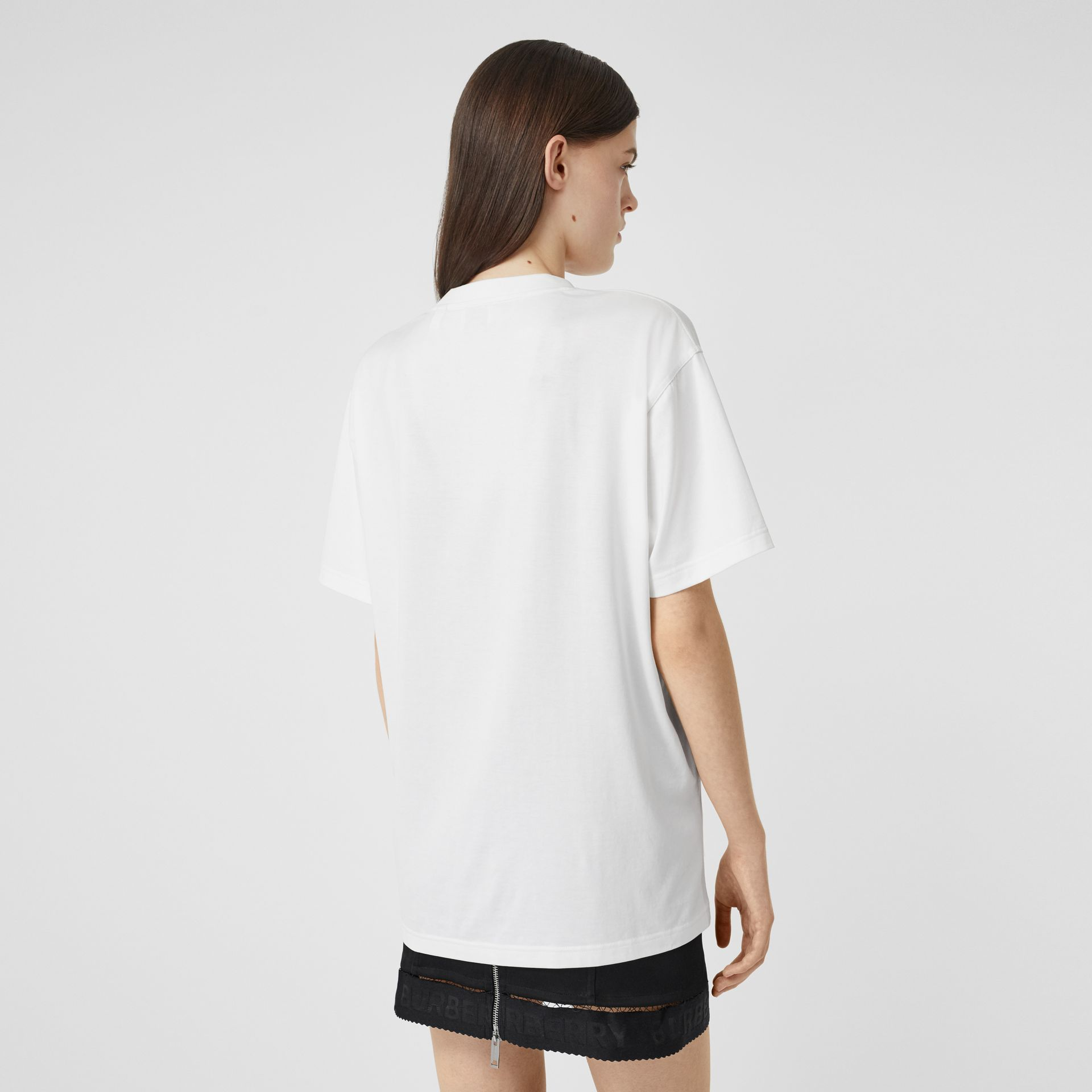 Location Print Cotton Oversized T-shirt in White - Women | Burberry - gallery image 2