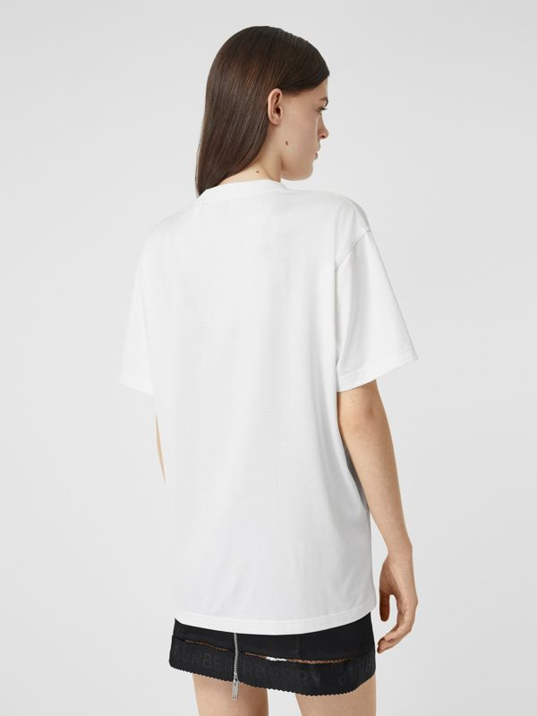 Location Print Cotton Oversized T-shirt in White - Women | Burberry - cell image 2