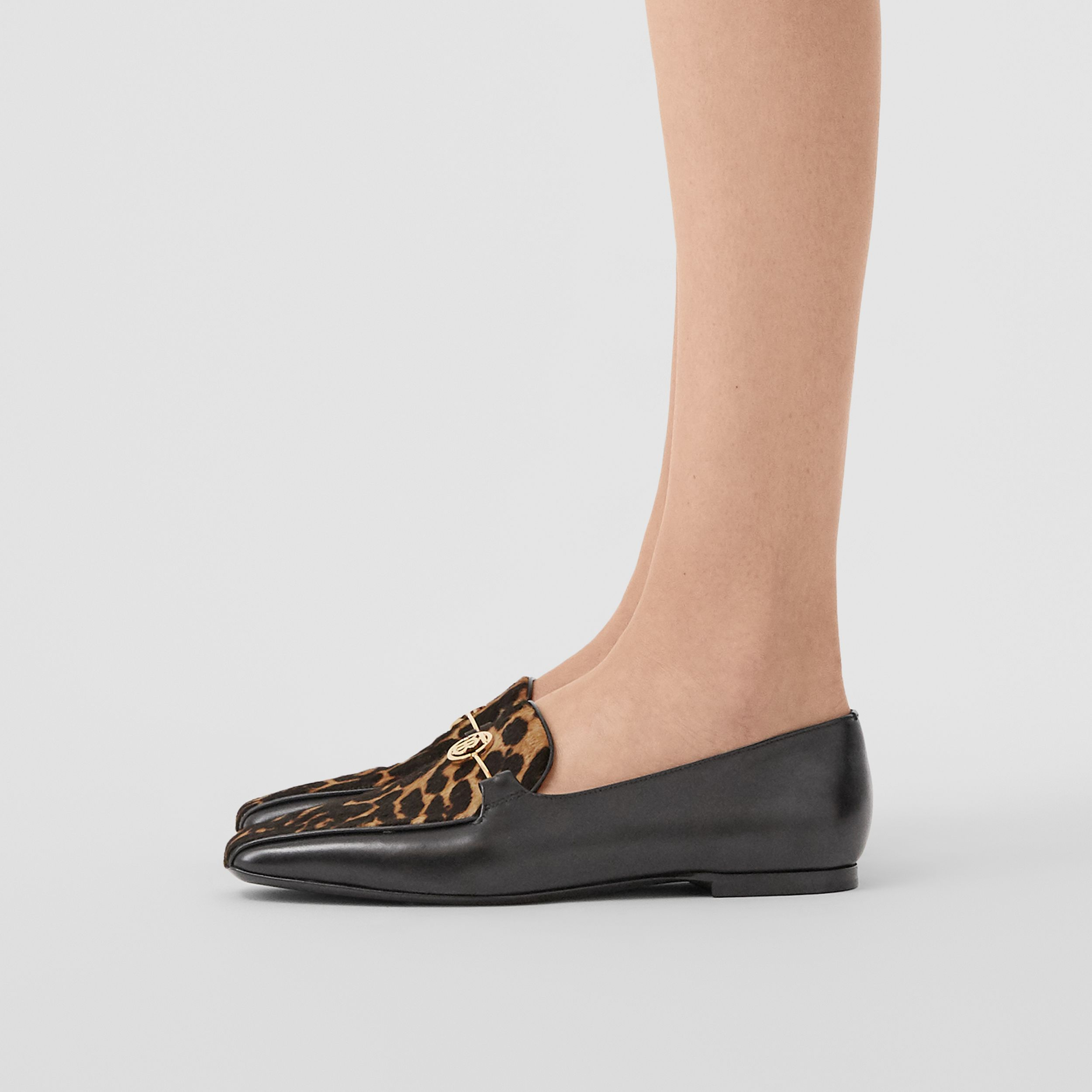 Leopard Print Calf Hair and Leather Loafers in Black/leopard - Women | Burberry United States - 3