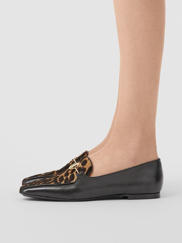 Leopard Print Calf Hair and Leather Loafers in Black/leopard - Women | Burberry United Kingdom - cell image 2