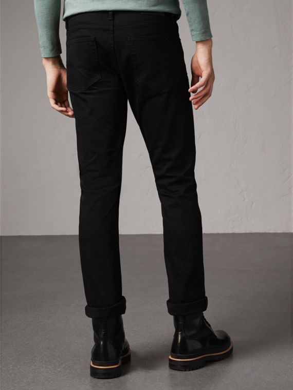 Straight Fit Stretch-denim Jeans in Black - Men | Burberry Canada - cell image 2