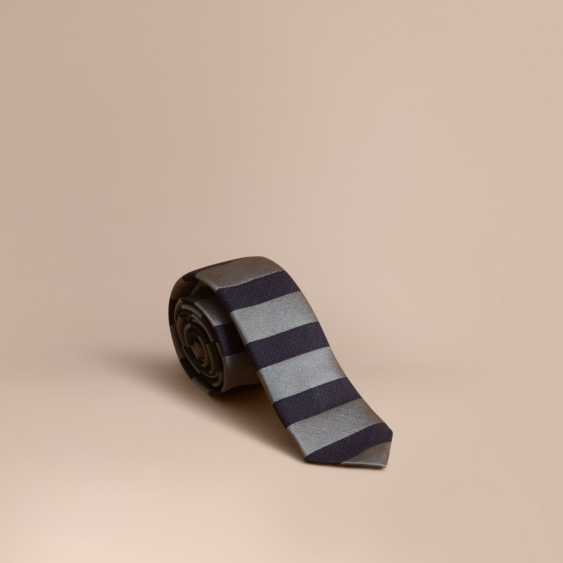Slim Cut Striped Silk Wool Tie in Sage Green - Men | Burberry - gallery image 0