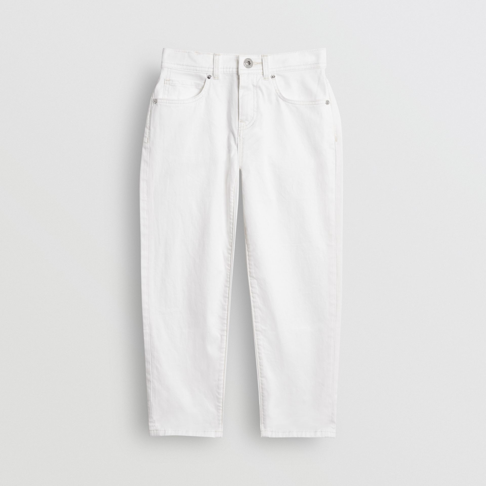 Relaxed Fit Stretch Denim Jeans in White - Girl | Burberry - gallery image 0