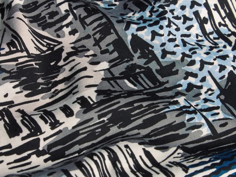 British Seaside Print Cotton T-shirt Steel Blue - cell image 1