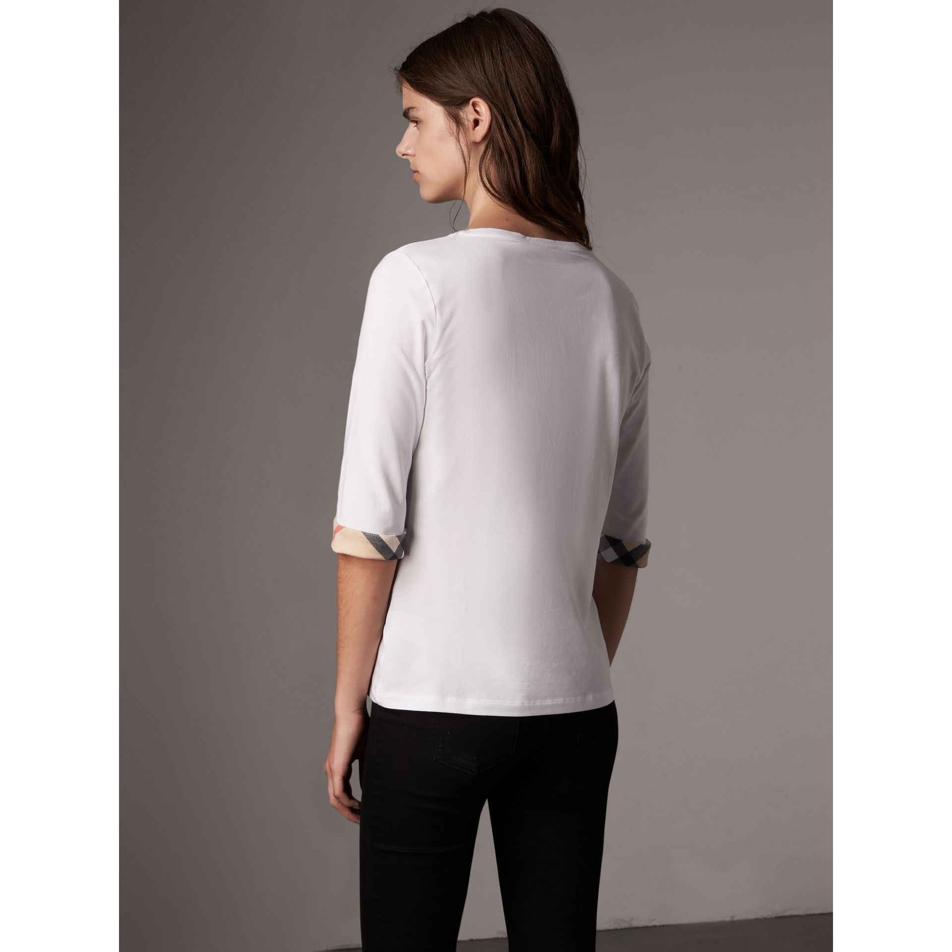 Check Cuff Stretch-Cotton Top in White - Women | Burberry - gallery image 3