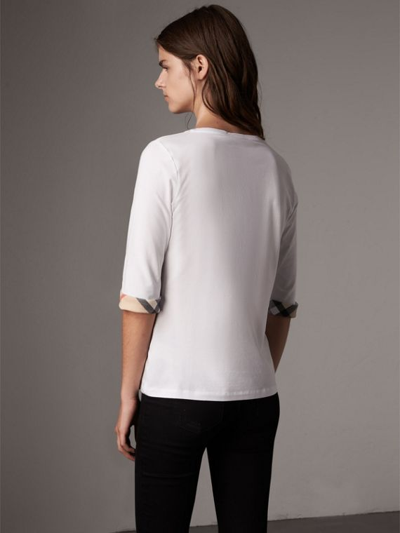 Check Cuff Stretch-Cotton Top in White - Women | Burberry Canada - cell image 2