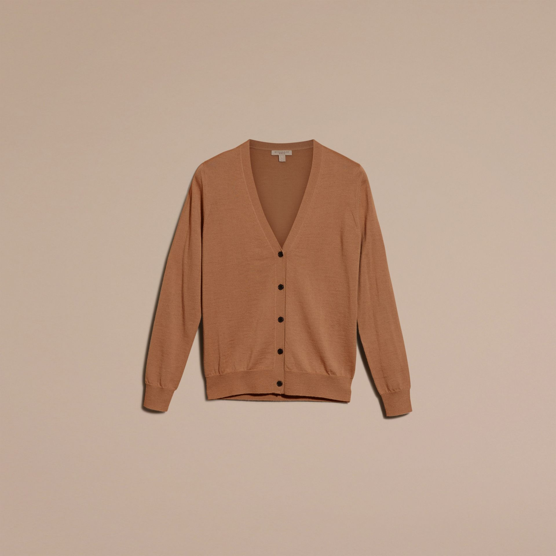 Check Detail Merino Wool Cardigan in Camel - gallery image 4