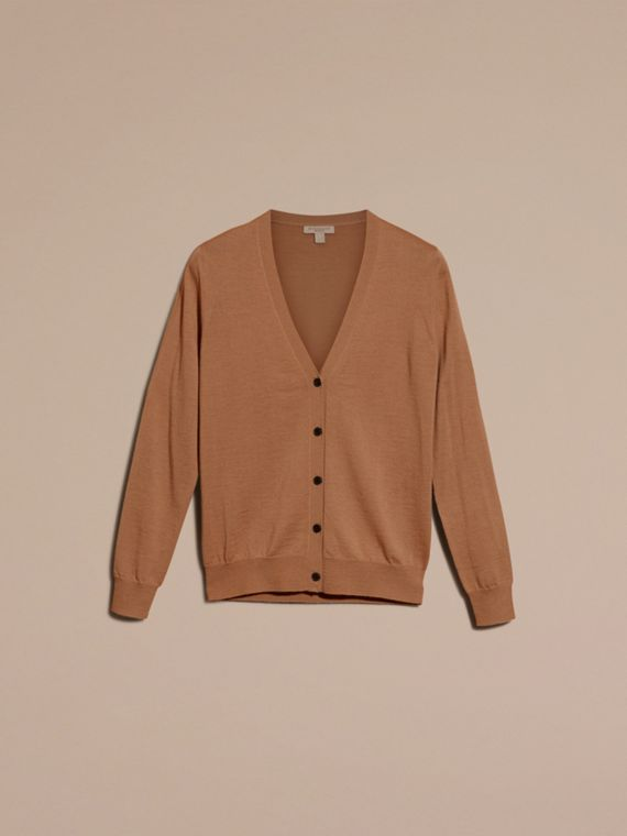 Check Detail Merino Wool Cardigan in Camel - cell image 3