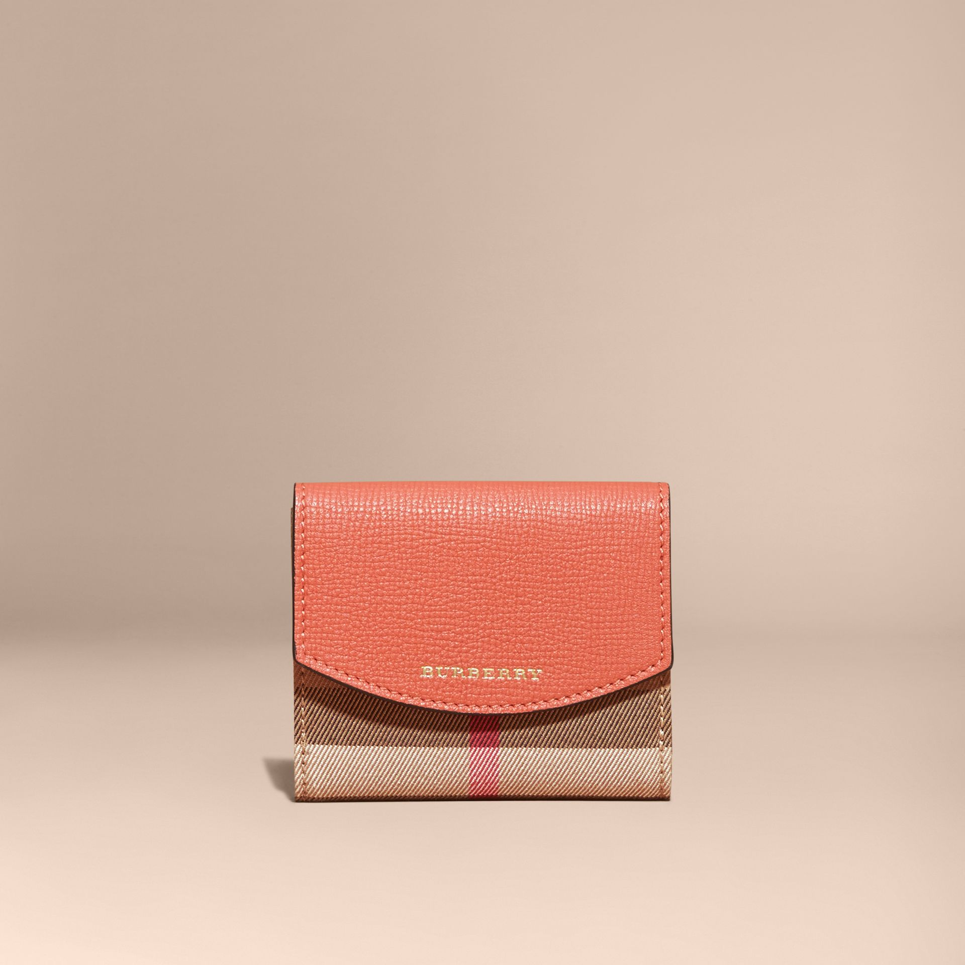 House Check and Leather Wallet in Cinnamon Red - Women | Burberry - gallery image 7