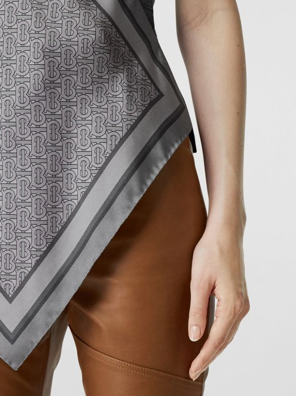 Monogram Print Scarf Detail Wool Vest in Grey Melange - Women | Burberry - cell image 1