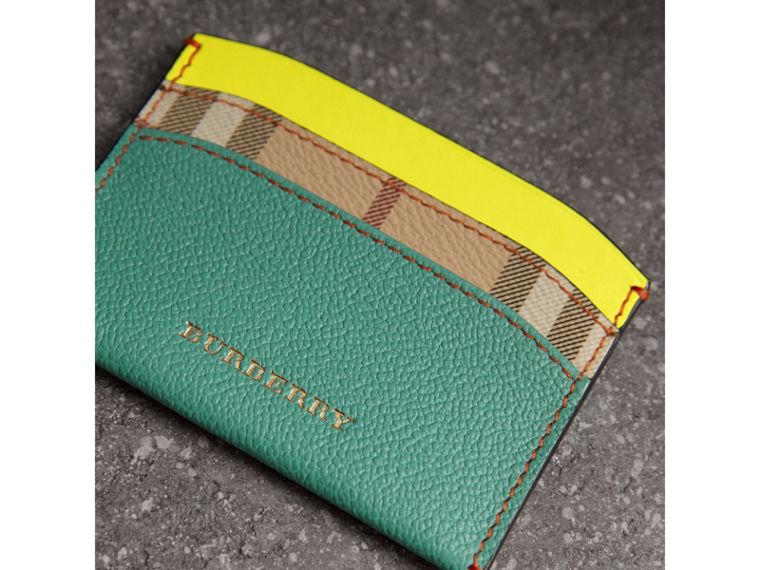 Leather Coin Case with Removable Card Compartment in Black/multicolour - Women | Burberry United Kingdom - cell image 1
