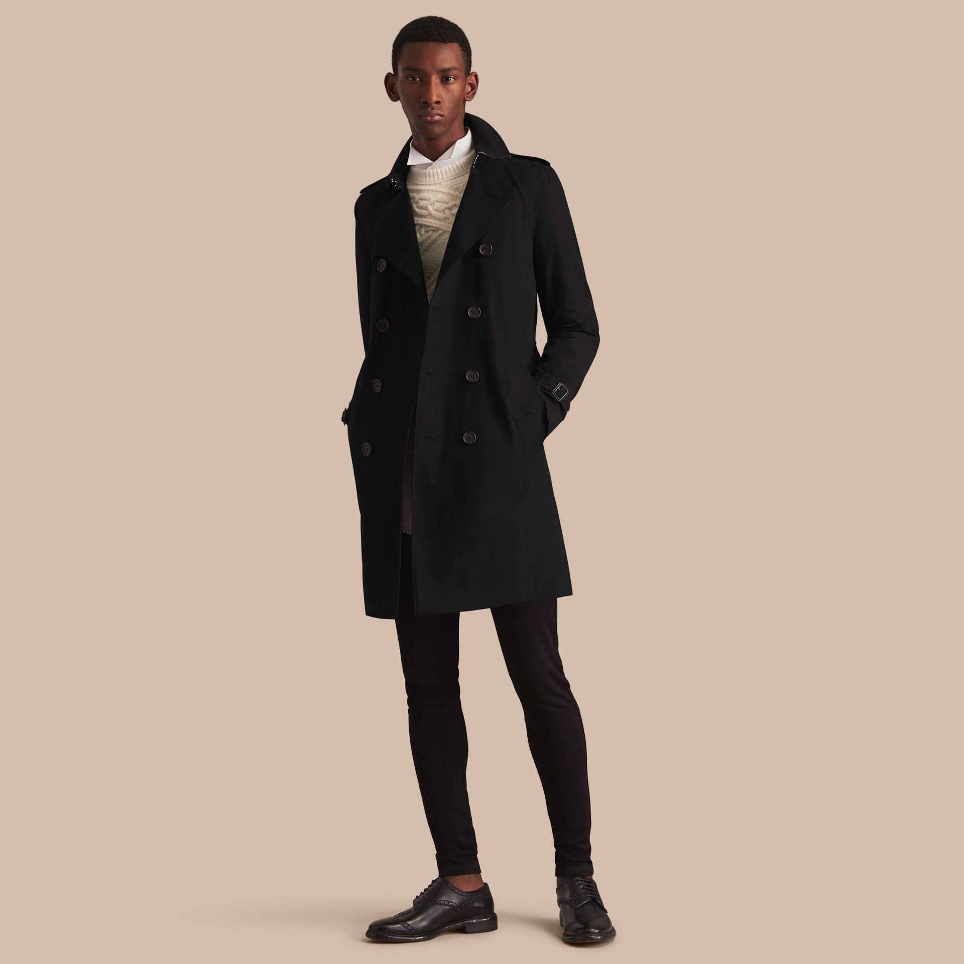 Black The Kensington – Long Heritage Trench Coat Black - gallery image 1
