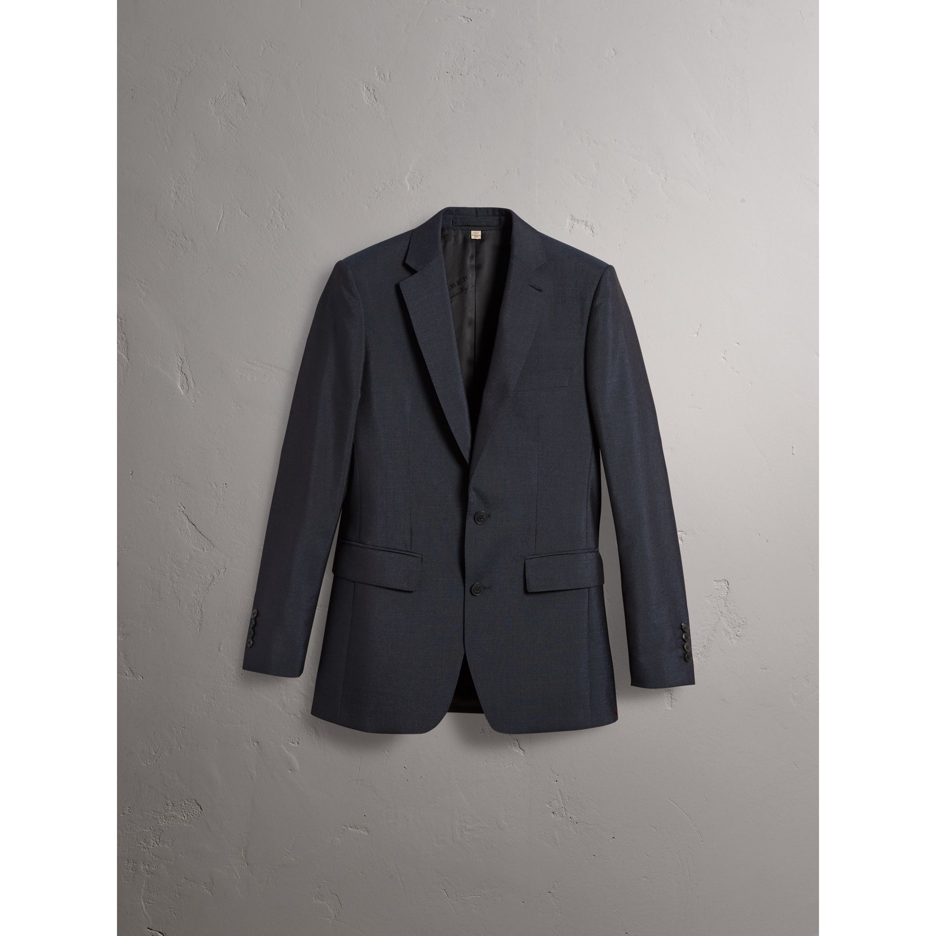 Slim Fit Mohair Half-canvas Suit in Navy - Men | Burberry - gallery image 3