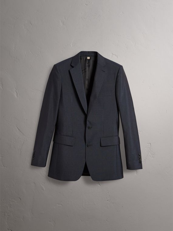Slim Fit Mohair Half-canvas Suit in Navy - Men | Burberry - cell image 3