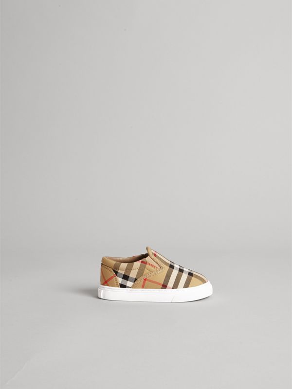Vintage Check and Leather Slip-on Sneakers in Antique Yellow/optic White - Children | Burberry - cell image 3