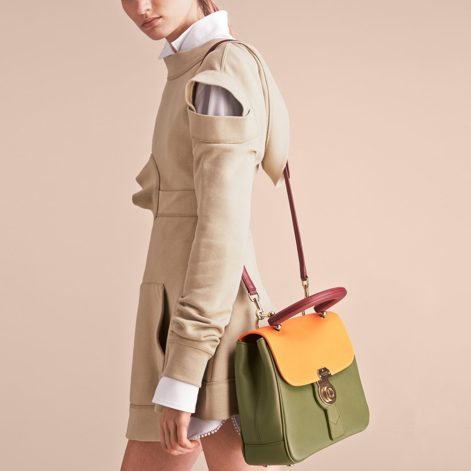 The Medium DK88 Top Handle Bag Moss Green/ochre Yellow - gallery image 4