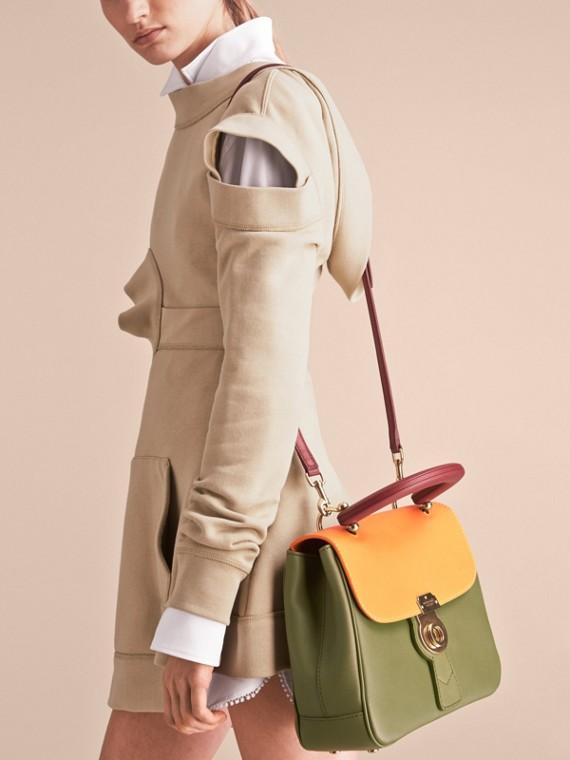 The Medium DK88 Top Handle Bag Moss Green/ochre Yellow - cell image 3