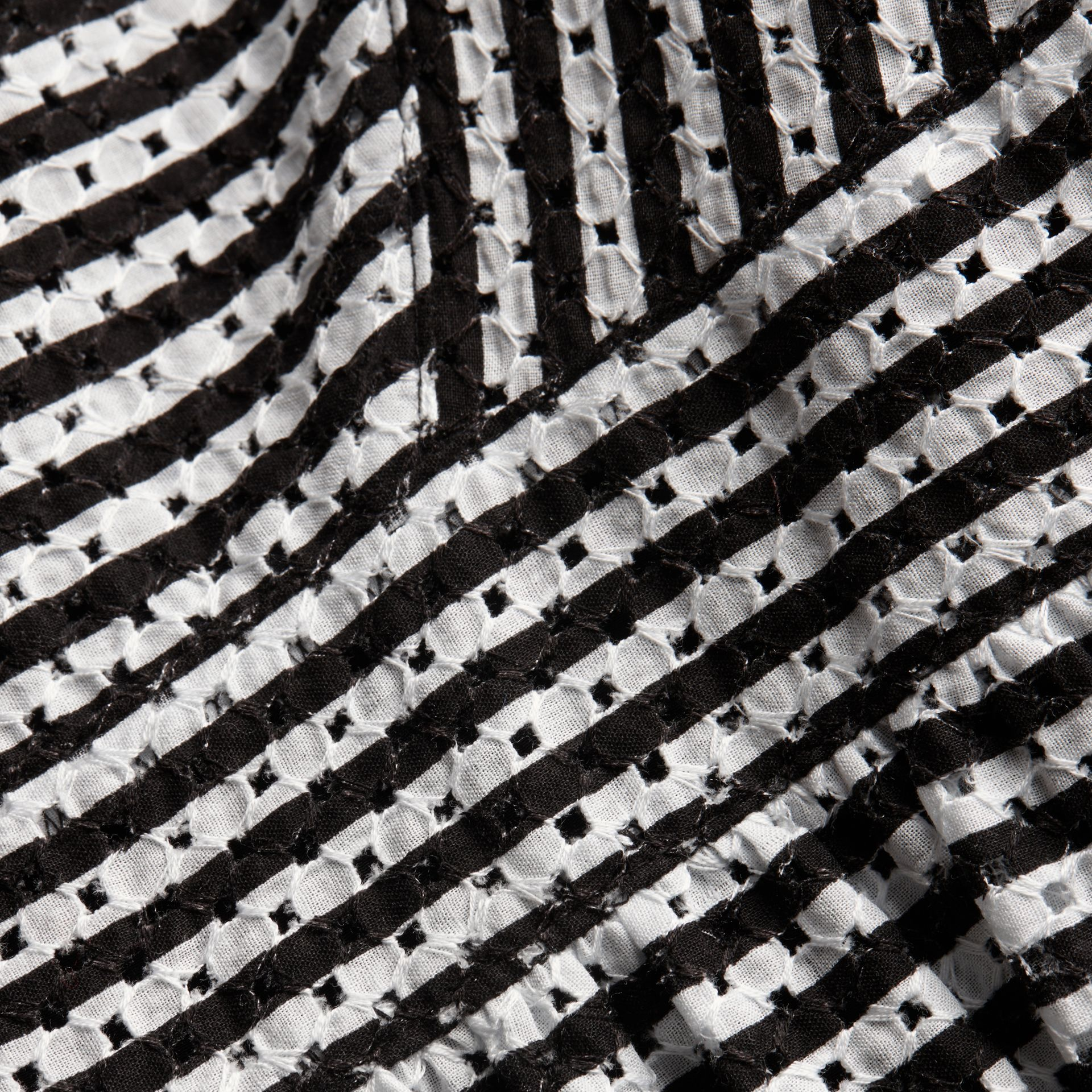 Black Striped Cotton Broderie Dress - gallery image 2