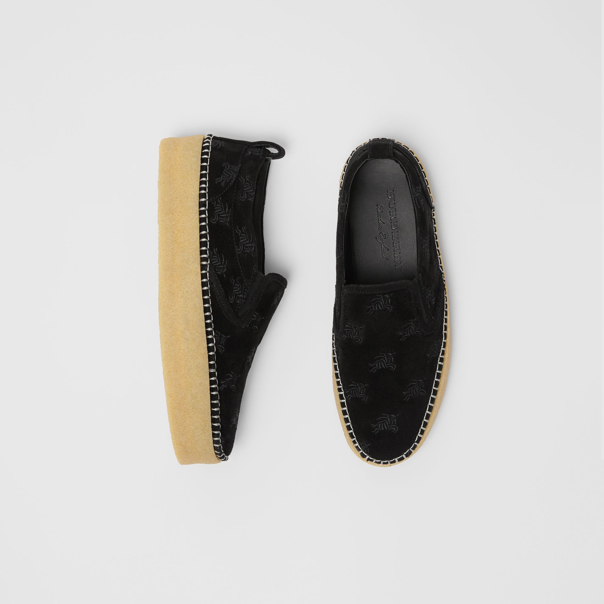 EKD Suede Slip-on Sneakers in Black - Women | Burberry United States - gallery image 0
