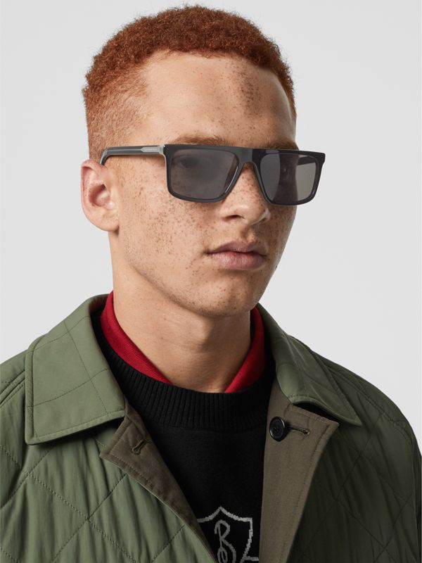 Vintage Check Detail Straight-brow Sunglasses in Black - Men | Burberry - cell image 2