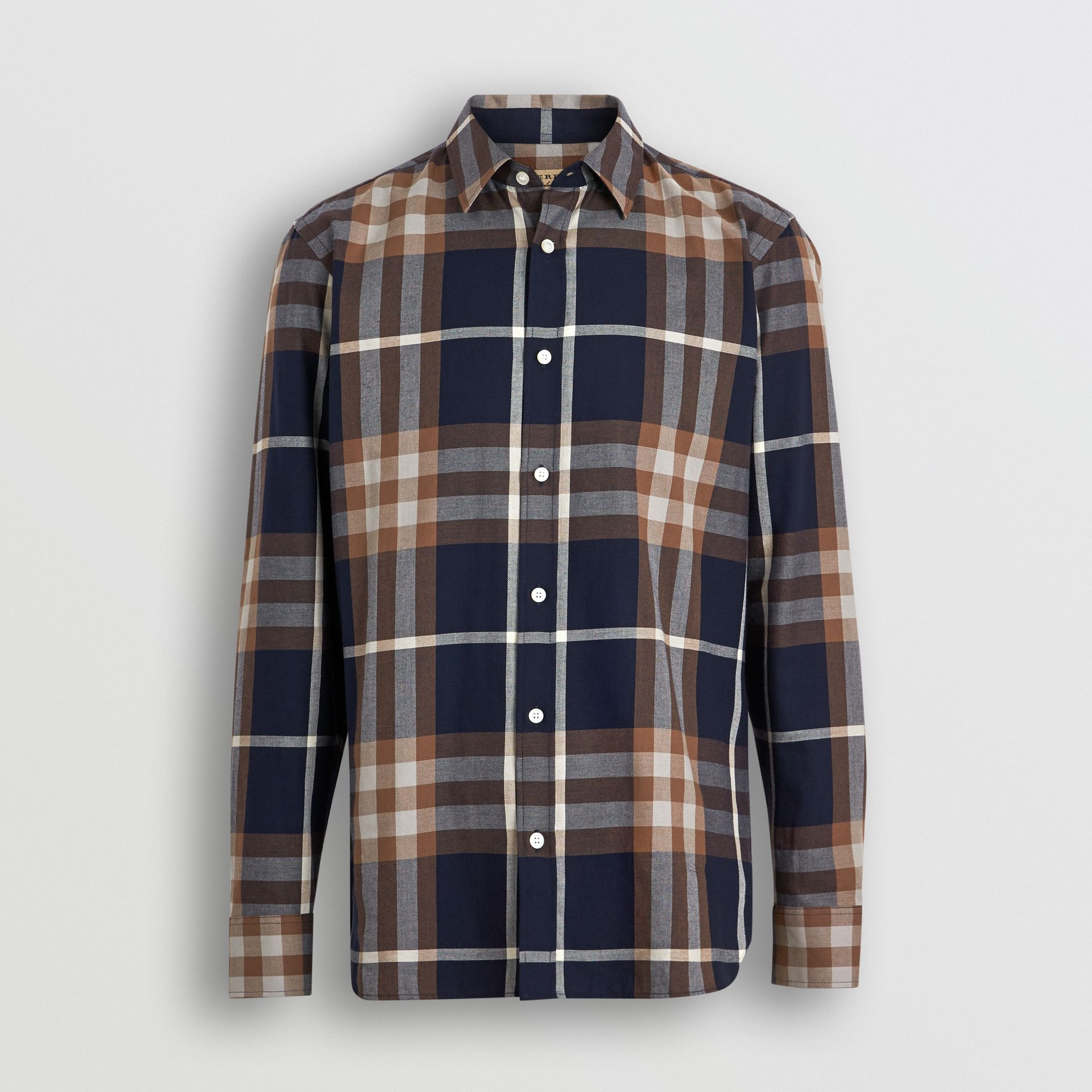 Check Cotton Flannel Shirt in Dark Navy - Men | Burberry Australia - gallery image 3