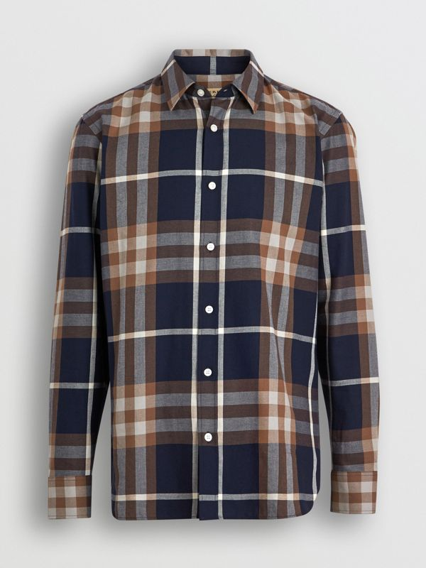 Check Cotton Flannel Shirt in Dark Navy - Men | Burberry - cell image 3